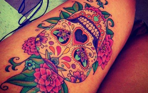 sugar skull tattoos, skull thigh tattoos and skull tattoos. tattoo tattoos ink