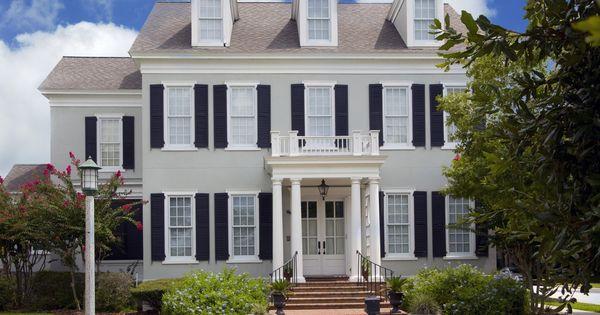 Light Grey House Black Shutters Exterior Paint Colors