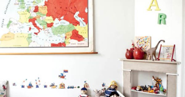 Kid's room - vintage map and coloured wooden letters