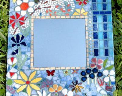 Miroir mosaique bleu creation personnelle mosaiques for Miroir mosaique