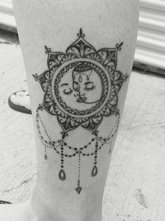 Vintage Boho Sun And Moon Mandala Tattoo Love It Sun Tattoos Tattoos Moon Tattoo Designs