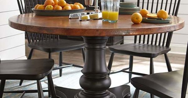 custom dining 54 round copper dining table copper black chairs and