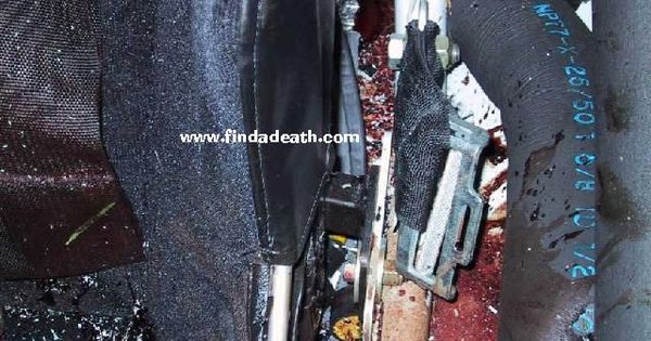 CAUTION IMAGE MAY BE DISTURBING. Roll bar/ seat belt area ...Dale Earnhardt Bloody Car