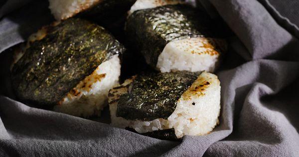 Spicy Smoked Salmon Onigiri - these onigiri are toasted golden on a