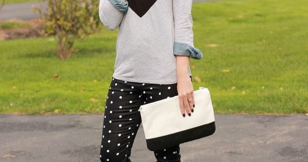 polka dot pants + heart sweater = love style geek chic