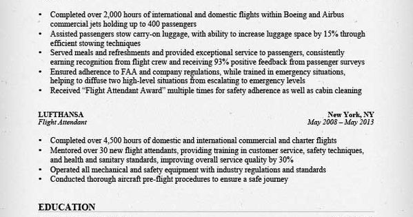 Flight Attendant Resume Sample  Resume    Flight