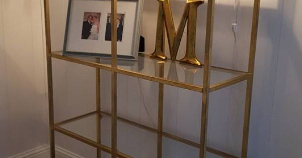 Ikea vittsjo shelving unit 79 gold spray paint rustoleum for Ikea backless bookcase