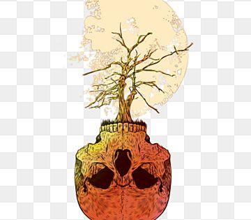 Skelleton الجمجمة والعظام تيشرت فن الخط تيشرت تصميم Merch التوضيح صور شجرة تيز القمر Png Images Skull Png