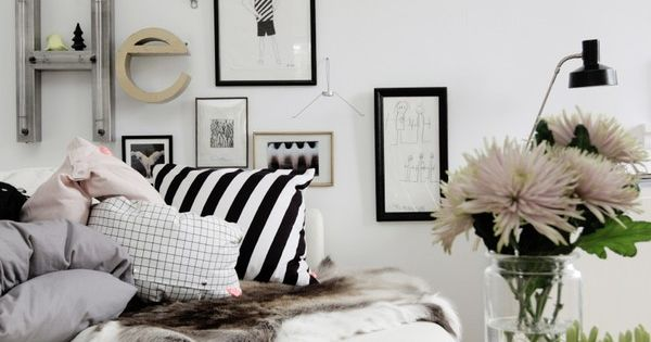 black and white living room space, black and white chic home decor