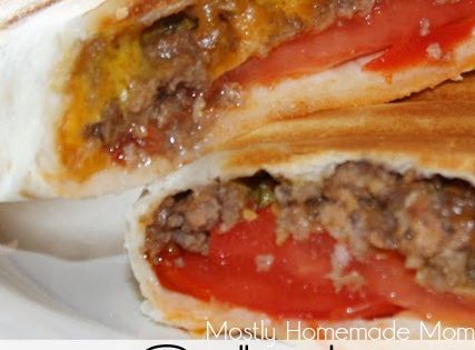 Mostly Homemade Mom: Grilled Cheeseburger Wraps in low carb tortilla