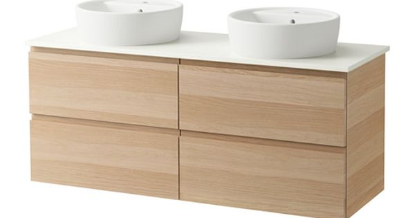 Godmorgon aldern t rnviken cabinet countertop 19 5 8 sink white stained oak effect ikea - Wastafel leroy merlin ...