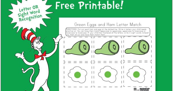green eggs and ham free sight word and letter recognition