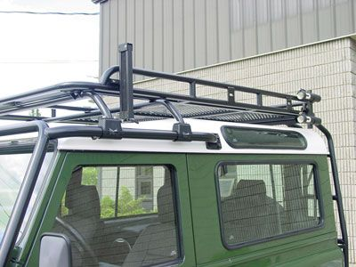 Defender 90 japanese specification defender roof rack for Roof rack fishing rod holder