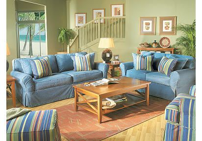 Cindy Crawford Home Beachside Denim 7 Pc Livingroom