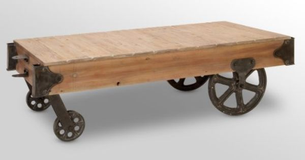 Wood Cart Coffee Table 56 X 16 In Home Decor