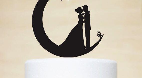 Hochzeitstorte Topper, Mond und Sternen Cake Topper, Acryl Cake Topper ...