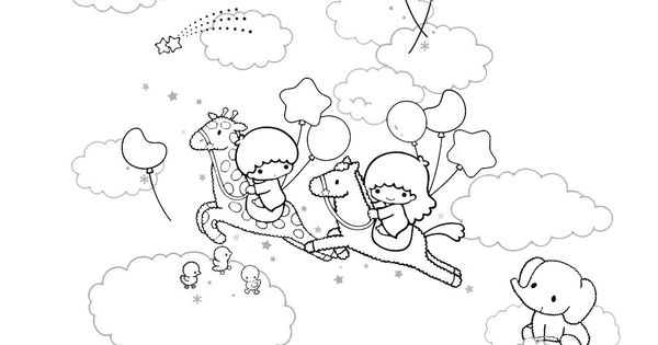 Little twin stars colouring sheets collection for Little twin stars coloring pages