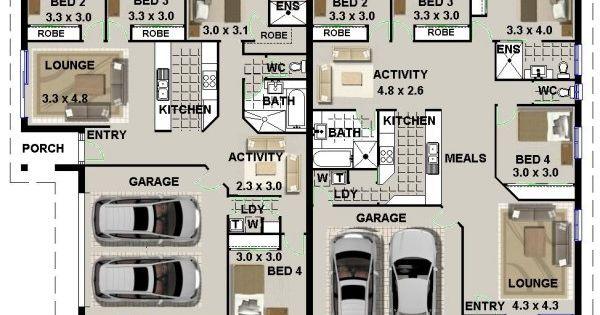 Duplex Design For Corner Blocks Floor Plan House Plan Pinterest Duplex Design Duplex
