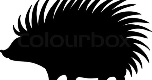 Vector Of Hedgehog Vector In Black Vector Illustration On White Background On Colourbox Hedgehog White Background Silhouette Christmas