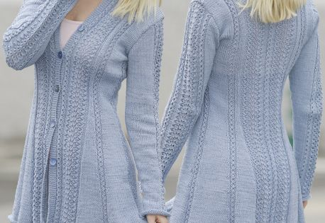 Knitting Pattern Lace Jacket : Knitted DROPS jacket with lace pattern and shawl collar in ?Muskat? or