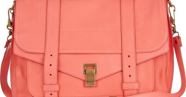 Peach leather satchel