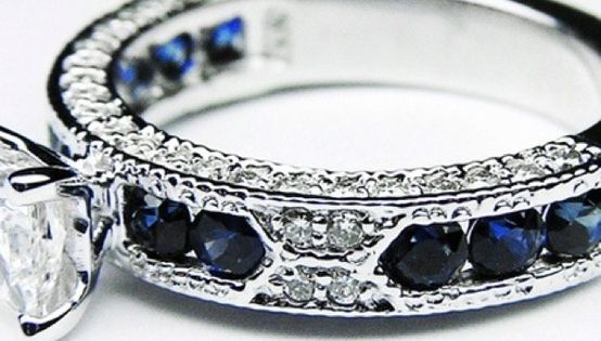 Princess Cut Diamond Vintage Engagement Ring with Blue-Sapphire Accents...switch the blue sapphire