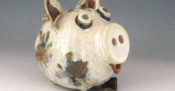 Ceramic Piggy Bank Creamy White With Multi Color Spots
