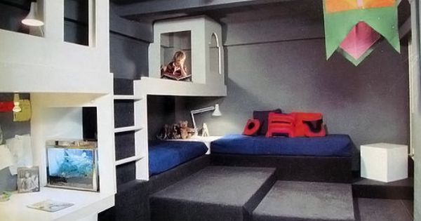 Built-In Bunk Bed in Vintage Kids Room via Wary Meyers