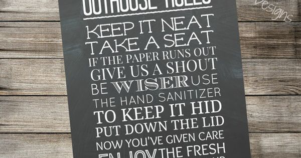 Outhouse Rules Printable Chalkboard Sign Bathroom Home