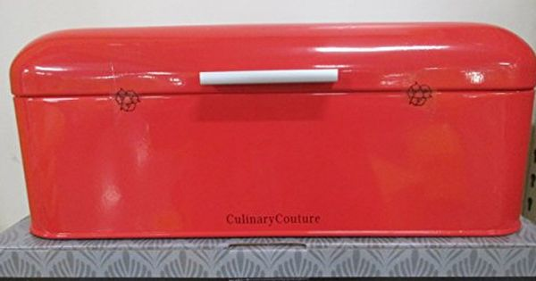 Coral Red Bread Box Countertop Stainless Steel Bread Bi Food