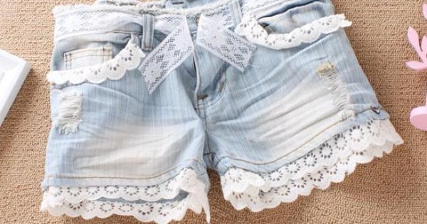 lace jean shorts.