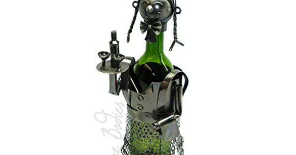 High Quality Genunie Hand Made Caddy Waitress Metal Wine Bottle Holder Free Arte Em Metal Metal