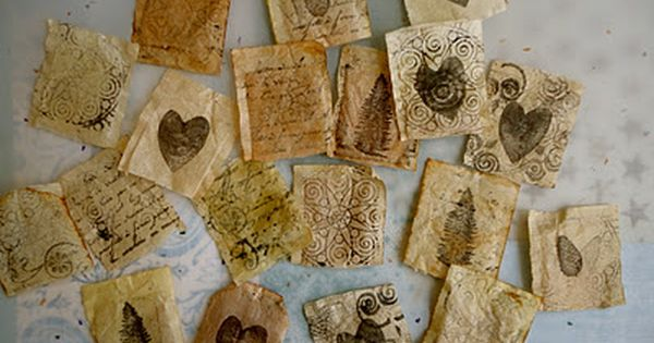 love! reusing tea bags in a beautifully creative way - from Hands
