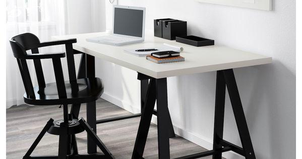 Linnmon Oddvald Table Blanc Noir 150x75cm Trouvez Le Ici Ikea Decor De Bureau A Domicile Portes Interieures Grises Decoration Bureau