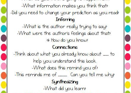 Questions to use before/while/after reading (Print for conferencing and/or send as a