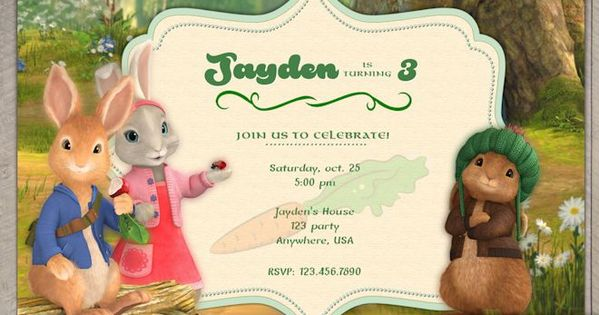 nick jr's peter rabbit birthday invitation - peter rabbit birthday, Birthday invitations