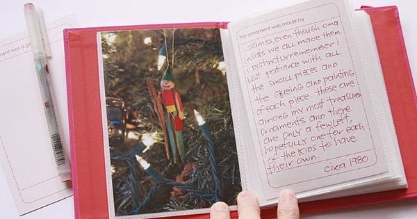 Ornament Book. Great idea! I wish my parents did this. After time