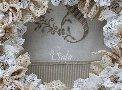 project idea: Shabby Chic Inspired- glue lace flowers to flat back Styrofoam