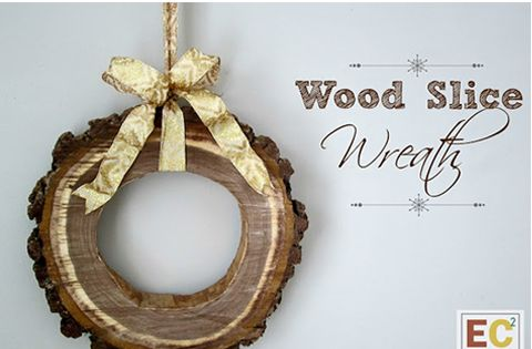 Wooden Wreath from a tree slice by East coast creative blog