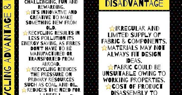 Recycling Advantage & Disadvantage GCSE textiles theory