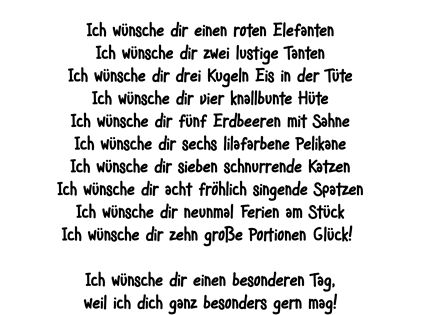 Die Persönliche Note: Ich wünsche dir ... Humorvolles Gedicht für Geburtstagsgrüße und