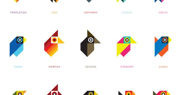 Geometric birds. Make it a design challenge with geometric shapes - limit