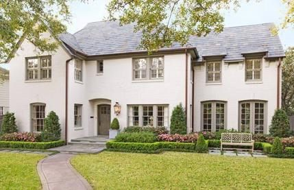 Painted Brick Houses This Houston House Appeared In Traditional Home And The Homeowner Note Painted Brick House Exterior Paint Colors For House Facade House