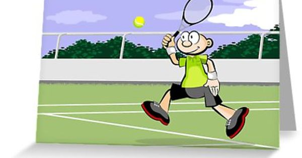 Boy Playing Tennis On Grass Court Greeting Card By Megasitiodesign Boys Playing Cartoon Styles Greeting Cards