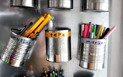 tin can storage love this idea for a kids craft, home work