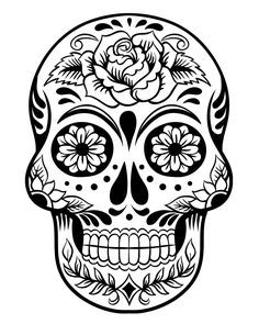 Printable Sugar Skull Day Of The Dead Coloring Page Skull
