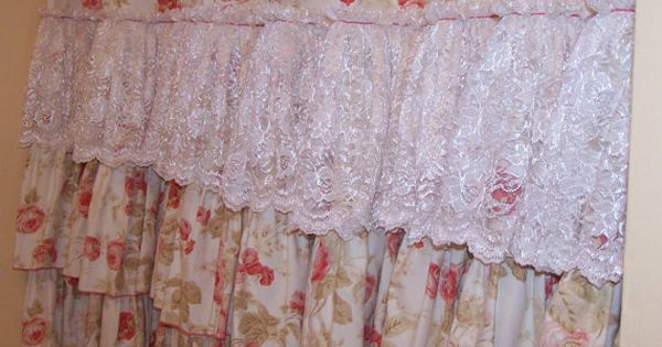 Shabby Chic Pink Roses And Chantilly Lace Ruffles Shower Curtain Via Etsy Home Decor That I