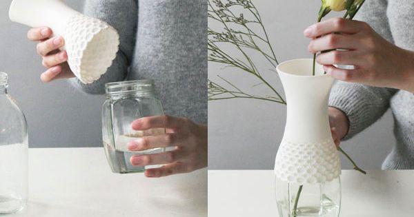 Lace Vase - reuse old jars and bottles - pottery inspiration