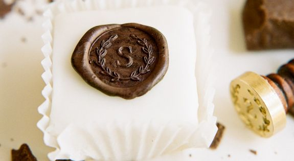 Wonderful idea for wedding favors: Chocolate Wax Seal Monogram Petit Four