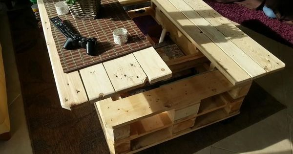 Diy Lift Top Pallet Coffee Table Love This Idea Trying To Think Of I Can Modify It Into